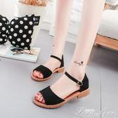夏季新款低跟方跟韓版搭扣包跟女涼鞋防滑學生鞋復古原宿女鞋范思蓮恩