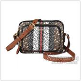 BURBERRY Striped燙金LOGO字母設計牛皮拉鍊斜背相機包(棕褐)