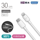 Lightning/USB-C/30cm| ZMI紫米 數據線(AL871) iPhone快充 PD快充