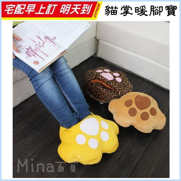 ✿mina百貨✿ 貓掌暖腳寶 暖手寶 電暖寶 靠枕 抱枕 暖腳器 可拆洗 USB充電 保暖 加熱【F0260】