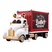 〔小禮堂〕迪士尼 米奇 TOMICA小汽車收納車展示櫃《紅白.貨櫃車》公仔.玩具.模型 4904810-12815