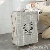 棉麻布藝鐵架折疊臟衣籃洗衣籃臟衣服收納筐玩具衣物婁防水臟衣簍『CR水晶鞋坊』igo