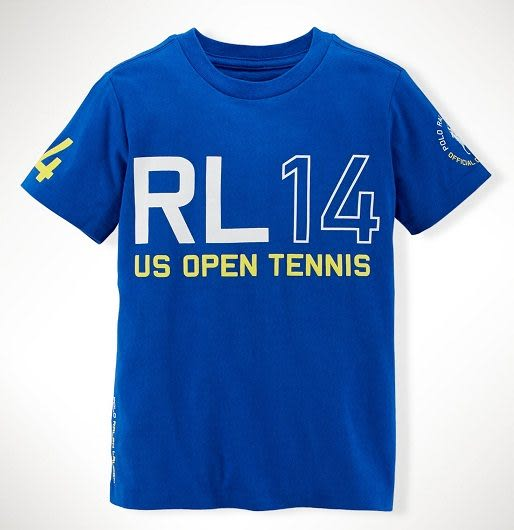 Ralph Lauren Polo短袖上衣 白色Logo圖案臂章藍色設計款短袖T恤
