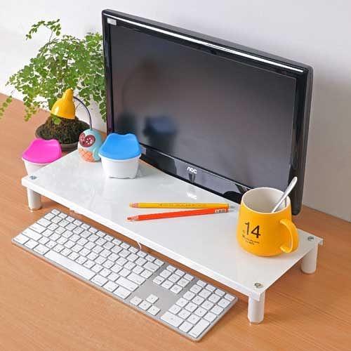 【方陣收納】高質烤漆金屬桌上螢幕架/鍵盤架RET-125(白色1入)