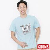 CHUMS 日本 男Bobby飛行員短袖圓領T恤 水藍色 CH011210A027