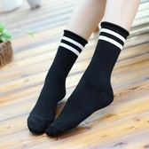 女短襪 中筒襪 秋冬季復古日系襪子棉堆堆襪薄款 女二杠橫條紋卷邊保暖襪子《小師妹》yp977