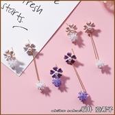 『坂井.亞希子』925銀針甜美花朵造型冰晶雪花不對稱耳環