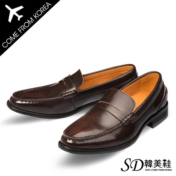 男鞋 韓國空運 經典一字拼接 質感亮面皮革 男仕樂福皮鞋【F730362】2色 SD韓美鞋