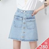 短裙 銀色排釦雙口袋牛仔A字裙M-XL號-BAi白媽媽【301091】