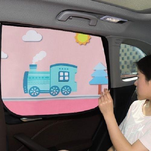 汽車卡通磁性遮陽簾 車用防曬隔熱窗簾 車窗遮光簾 (顏色隨機出貨)