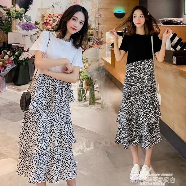 短袖洋裝 夏季新款時尚韓版純棉短袖拼接波點寬鬆大碼中長款氣質連身裙女潮 萊俐亞