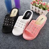 新款增高厚底時尚可愛涼拖鞋女家居浴室防滑高跟外穿沙灘拖鞋     初語生活