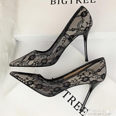 高跟鞋-黑色蕾絲高跟鞋新款尖頭細跟性感網紗鏤空夜店女百搭單鞋床上 提拉米蘇