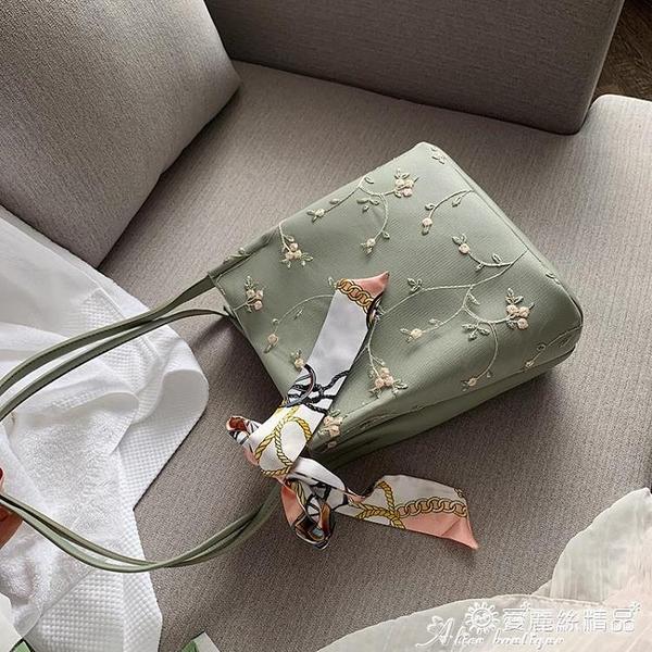 水桶包 蕾絲刺繡錬條水桶包包女包2020新款民族風側背斜背休閒氣質少女潮 愛麗絲