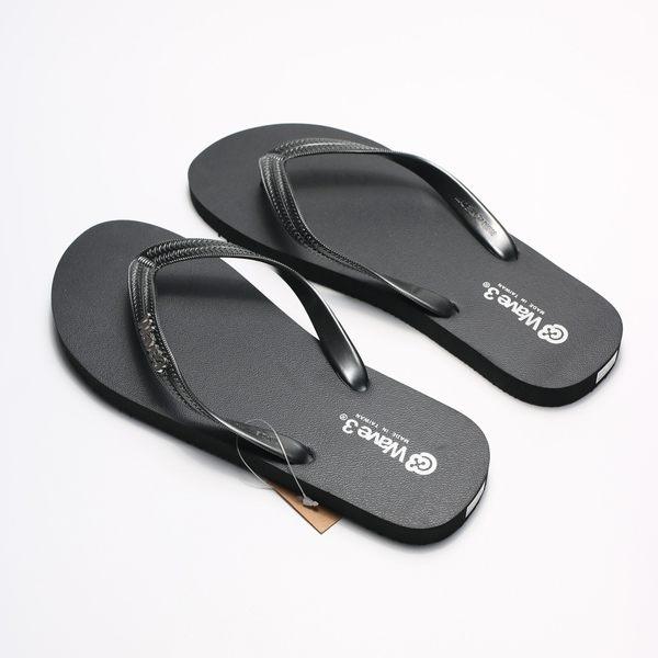 WAVE3 黑銀 金屬LOGO 夾腳 人字拖  海灘 拖鞋 男生 (布魯克林) 16100701