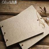 相本麻繩綁帶空白麻布手工鐵環活頁DIY畢業相冊本創意影集寶寶相冊「七色堇」