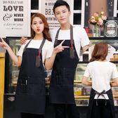 牛仔帆布繪畫圍裙定製logo網咖服務員快餐店奶茶店咖啡廳工作圍裙
