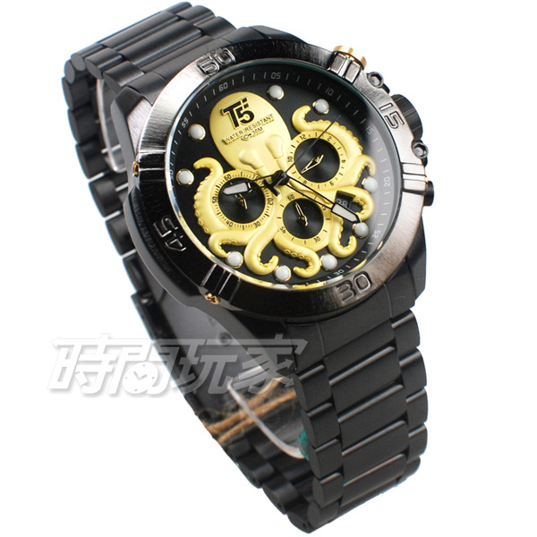 T5 sports time 深海章魚 三眼大錶徑 個性男錶 學生錶 防水手錶 日期視窗 IP黑x金 H3663G金槍