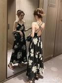 夏季新款氣質性感露背收腰碎花雪紡吊帶洋裝女夏天顯瘦長裙 蘑菇街小屋