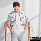 【JEEP】夏日清新質感短袖襯衫(綠條紋)
