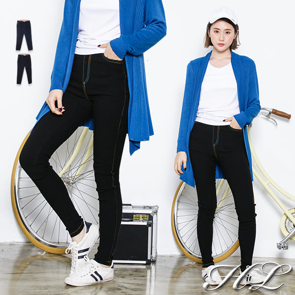 .HL超大尺碼.【18050034】彩線焦點顯瘦單寧牛仔長褲 2色