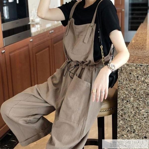 闊腿褲吊帶褲女韓版寬鬆直筒大碼薄款春夏2021新款時尚減齡網紅潮 母親節特惠