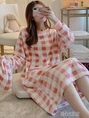 睡衣女秋冬法蘭絨加厚中長款睡裙保暖珊瑚絨少女清新公主風家居服 暖心生活館