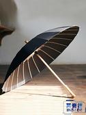 日系24骨長柄雨傘復古直立傘簡約直柄長傘古風長柄傘【英賽德3C數碼館】