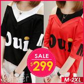 中大尺碼 潮款英文字母假兩件短袖T恤 M-2XL O-ker歐珂兒 160098-C