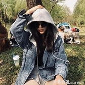牛仔衣女2021新款韓版bf寬鬆學生oversize同款春秋季連帽外套