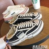 帆布拖鞋新款網紅厚底外穿包頭硫化乞丐鞋半拖女