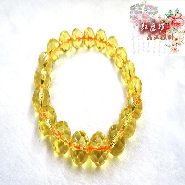 【Ruby工作坊】「直購價,每顆10MM」NO.55YA一條奧地利圓珠黃水晶手鍊(加持祈福)