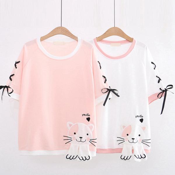 *ORead*韓版卡通刺繡貓咪短袖T恤繫帶上衣(2色F碼)