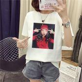 換季清倉-韓國ulzzang可愛卡通T恤女短袖正韓原宿BF風寬鬆白色百搭學生港味(5折下殺)