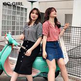 中大尺碼  甜美格紋襯衫上衣~共兩色 - 適XL~5L《 68110 》CC-GIRL