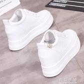 厚底小白鞋女內增高8CM冬季2019新款韓版休閒百搭街拍學生鞋白鞋 藍嵐
