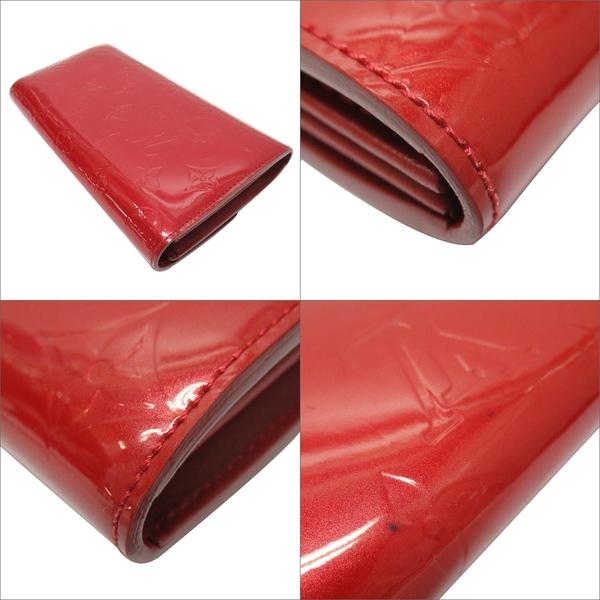 LOUIS VUITTON LV 路易威登 紅色漆皮金釦對折長夾 【BRAND OFF】