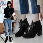 大尺碼女鞋  2019新款歐美時尚優雅尖頭高跟短靴~2色