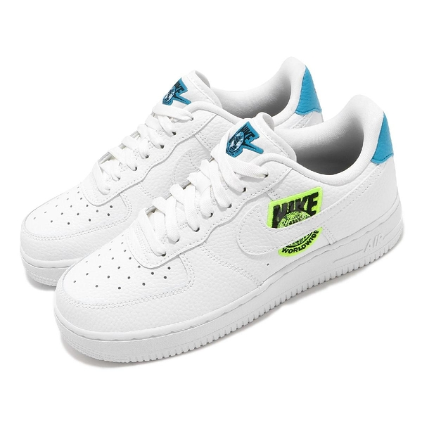 Nike 休閒鞋 Wmns Air Force 1 07 SE Worldwide 白 藍 女鞋 刺繡設計 運動鞋【PUMP306】 CT1414-101