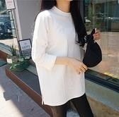 小中大尺碼長袖T恤~白色t恤女韓版白t寬松長袖黑色打底衫百搭純色上衣潮T305莎菲娜