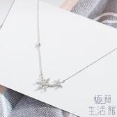 氣質韓國雪花吊墜鎖骨鍊925純銀項鍊女【極簡生活】