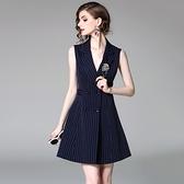 洋裝-無袖V字翻領雙排扣條紋女連身裙2色73of101[巴黎精品]