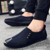 夏季帆布潮鞋男士一腳蹬懶人休閒男鞋韓版潮流百搭新款布鞋透氣-Ifashion