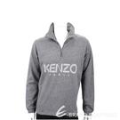 KENZO 幾何線條字母麻灰色開襟立領運動衫(男款) 1940495-06