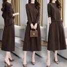 套裝洋裝初秋季長袖洋裝兩件套春秋裝新款寬鬆顯瘦流行套裝裙女潮 快速出貨