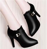 細跟靴短靴女秋冬季2021新款高跟單靴細跟尖頭真皮女士時尚皮鞋 芊墨左岸