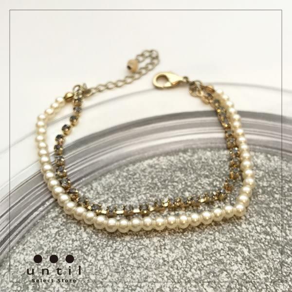 時尚步伐~滿鑽珍珠雙層手鍊腳鍊616915/1色