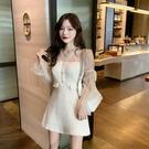 洋裝小香風 秋季新款連衣裙女網紗V領長袖拼接收腰A字氣質短裙子潮 莎瓦迪卡