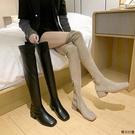 及膝靴女膝上靴 過膝長靴女秋冬2021新款網紅顯瘦長筒靴粗跟瘦瘦彈力靴高筒女靴子 秋冬上新