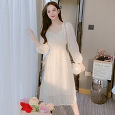 洋裝連身裙甜美S-2XL新款方領法式收腰顯瘦長袖雪紡仙女裙T613-1106.胖胖唯依